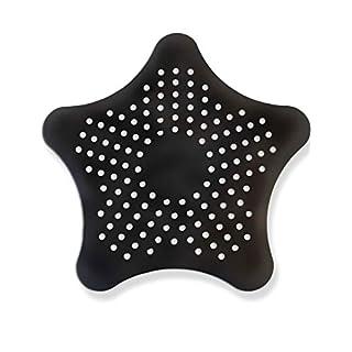 HomeTools.eu - XXL großes Silikon Abfluss-Sieb mit Saugnäpfen | für Küche Spüle Bad Wanne Dusche Gegen Haare, Krümel | 15 x 15cm, Schwarz