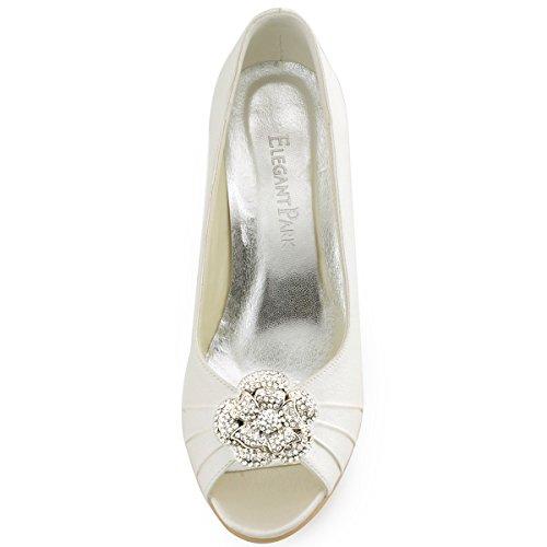 Elegantpark WP1547 Donna Ballare Zeppa AF01 Removibile Shoe Clip Strasss Satin Scarpe Da Sposa Avorio