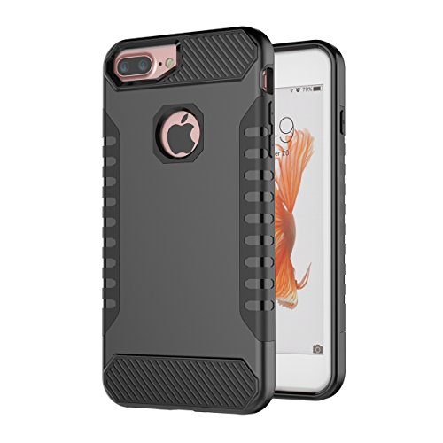 iPhone 7 Plus Hülle,EVERGREENBUYING Abnehmbare Hybrid Schein IPHONE 7+ Tasche [Dual Layer] Etui Schutzhülle Case Cover für iPhone 7 Plus (5.5-inch) Rose Gold&Grau Schwarz&Schwarz