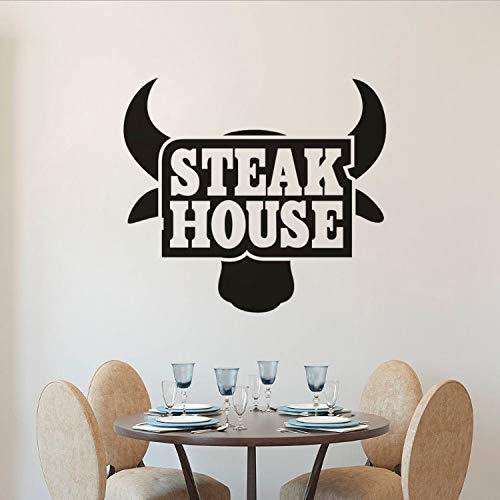 Restaurant Küche Vinyl Wandaufkleber Steak House Logo Wandkunst Aufkleber Removable Beef Steak Fenster Poster Bull Tapete Logo Steak