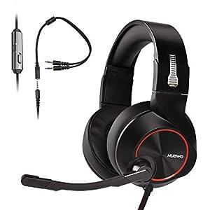 Gaming Kopfhörer für PS4,PC,Xbox One Controller,HUNDA Stereo Komfort Bass Surround Gaming Headset mit Noise Cancelling Mic und Lautstärkeregler für Laptop Mac PC Nintendo Switch Computer