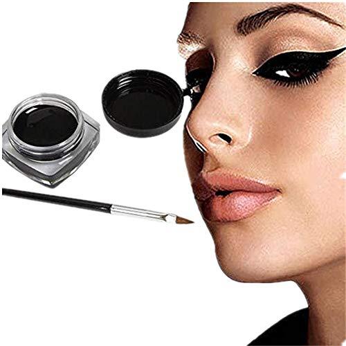SMILEQ 1x Eyeliner Gel Cream mit Pinsel Makeup schwarzer wasserdichter Eyeliner (1x, Schwarz)