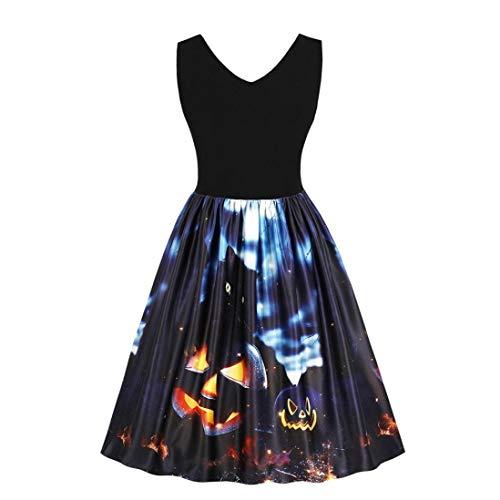(Spriteman Sexy V-Ausschnitt Partykleid, Damen Ärmellos Jahrgang Kürbisse Schwarze Katze Geist Printed Halloween Abend Prom Kostüm Swing-Kleid(Schwarz,XL))