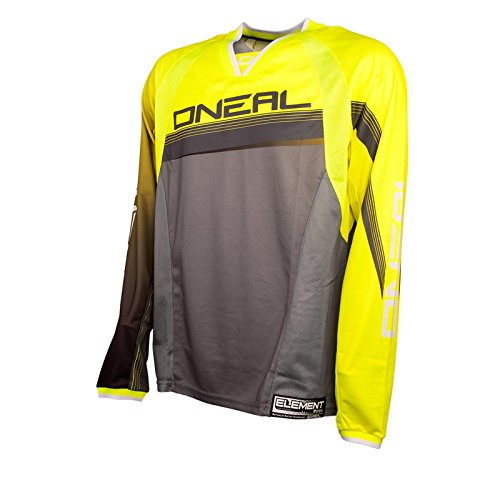 O'Neal Element FR langarm MTB Jersey Neon Gelb Mountainbike Downhill Freeride BMX Trikot Shirt, 0075S-12, Größe Medium
