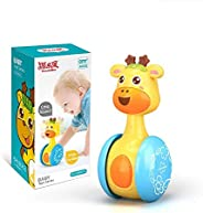 HOOME Giraffe Tumbler Doll Roly-Poly Baby Toys, Cute Rattles Toys for Newborns 3-12 Month Baby Boys and Girls