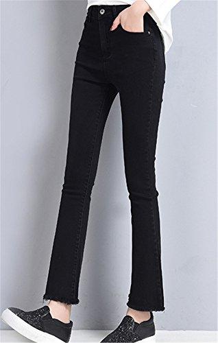 DaBag 7/8 Jeans da Donna Ragazzi Pantalone Flare Boot Cut in Primavera Autunno Slim a Vita Alta Denim Pants Push Up Nero