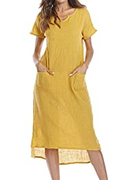 9b30840b0e51d De robes pour femme, femme pour femme Trend solide Grande taille col V sans  manches poches Tour de taille Ourlet bandages Longueur au…