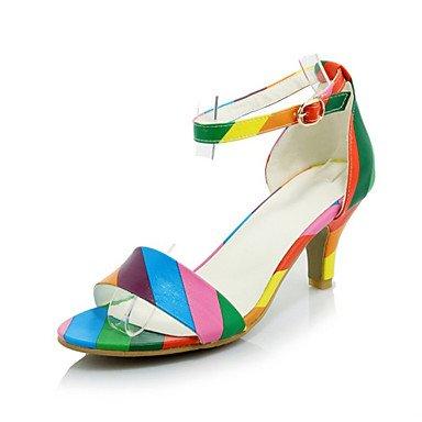 LvYuan Sandali-Ufficio e lavoro Formale Casual-Comoda Club Shoes-A stiletto-Velluto Materiali personalizzati Finta pelle-Nero Rosa Arcobaleno Black