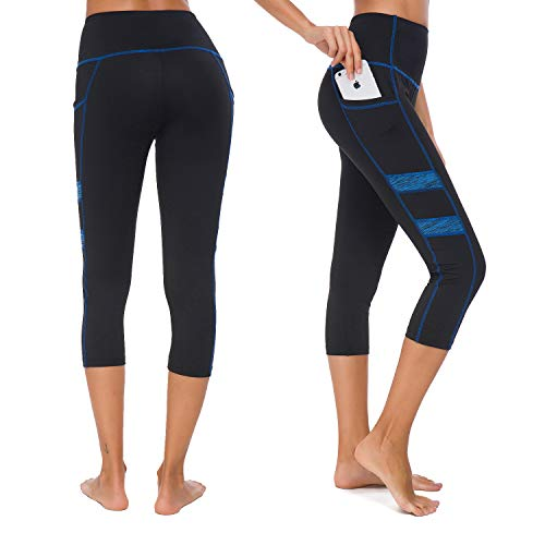 Munvot Damen Laufhose Sporthose Sport Leggings Tights - U2043(Blau 3/4)/XL (DE44-46)