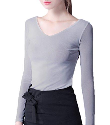 Smile YKK T-shirt Col V Femme Tulle Top Manches Longues Blouse Chemise Automne Printemps Gris