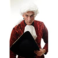 WIG ME UP ® - DH1126-P60 Baroque homme perruque noble Lord Juge compositeur de cour poète natte blanche bouclée longue