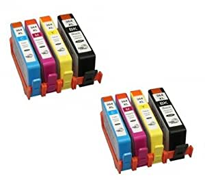 2 Sets = 8 HP 364XL Compatible Printer Ink Cartridges - To Replace HP364 printer inks cartridge (Contains: 1x Large Black,1x Cyan, 1x Magenta, 1x Yellow) for HP Photosmart 5510, 5511, 5512, 5514, 5515, 5520, 5522, 5524, 6510, 6512, 6515, 6520, 7515, B010a, B109a, B109d, B109f, B109n, B110a, B110c, B110e, HP Photosmart Plus B209a, B209c, B210a, B210c, B210d, HP Deskjet 3070A, 3520, 3522, 3524, Officejet 4610, 4620 High capacity (HP 364 XL, HP364XL)