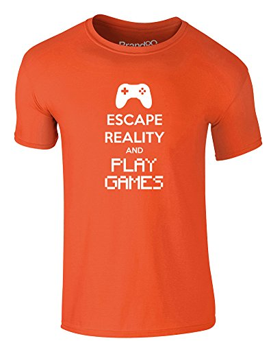 Brand88 - Escape Reality and Play Games, Erwachsene Gedrucktes T-Shirt Orange/Weiß