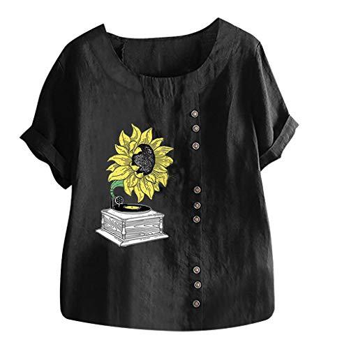 TAMALLU Damen T-Shirts Mode Bedruckt Übergröße Kurzarm Sweatshirt(Schwarz,L) -