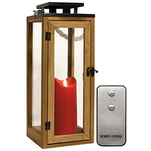 Dekovita Holz-Laterne 42cm Temperglas Gartenlaterne inkl. Tronje 18cm Outdoor LED-Kerze Rot mit Timer und Fernbedienung