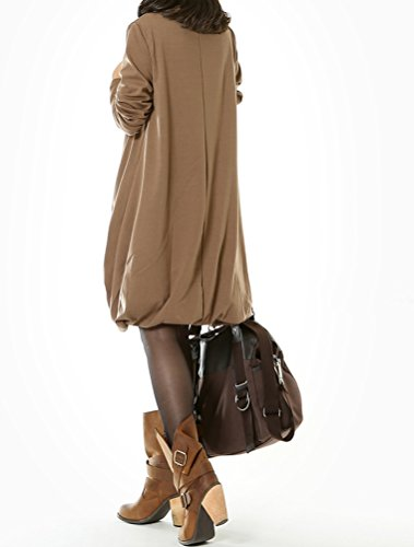 MatchLife Damen Stehkragen Langarm Top Khaki