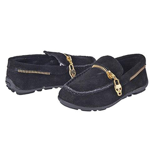 Damara Chaussures Bateau Pour Mixte Enfant Talons Plat A Enfiler Noir