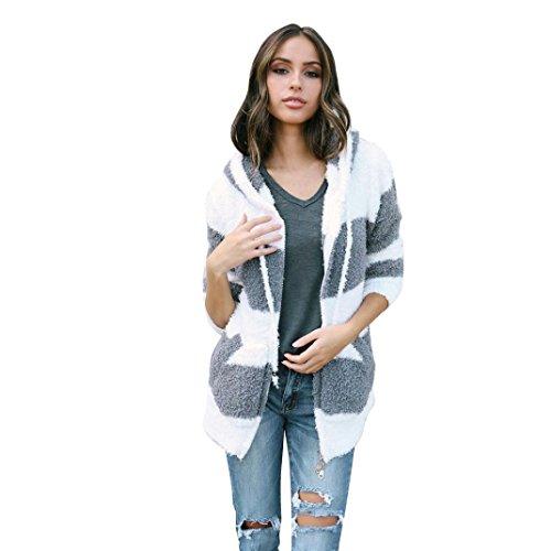 Ninasill donne cardigan, ღ ღ Exclusive cardigan con cappuccio lunga giacca Parka Outwear cappotto Casual X-Large Infradito colorati estivi, con finte perline