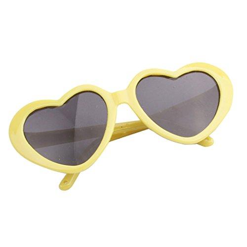 Baoblaze Modern Herzförmige Puppen Sonnenbrille Gläser für 18 Zoll Puppe - Gelb