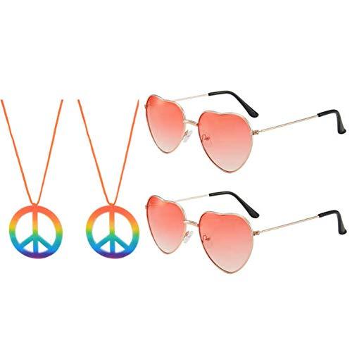 JBINNG 2 Stück Sonnenbrille und 2 Stück Friedenszeichen Halskette für Hippie Kostümzubehör Hippie Specs Brille in Herzform (Rot)