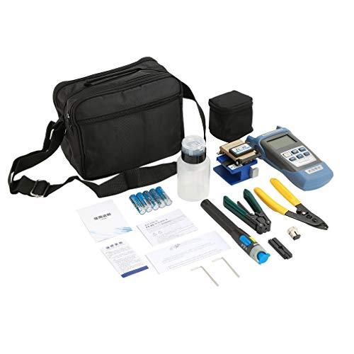 Leoboone Praktisches FTTH-Glasfaser-Tool-Kit mit FC-6S-Glasfaserspalter und optischem Leistungsmesser, 5 km optische Fehlersuche, Abisolierzange - Guide Rail Connector