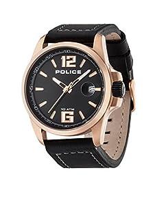 Police P12591JVSR-02 - Reloj analógico de cuarzo para hombre con correa de piel, color negro de Police