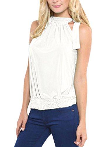 sourcingmap Femme Cravate Encolure Sans manche Ourlet Elastique Haut Blanc