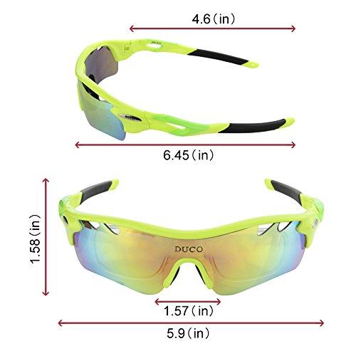 Duco Polarisierte Fahrradbrille Radfahren Sportbrille Sonnenbrille Schutzbrille 0025 (Grün) - 2