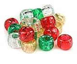 Bastelperlen 100 Stück, 9 mm x 6 mm Weihnachtsperlen in Rot/Grün/Gold/Silber, Acryl, Kunststoff, rund