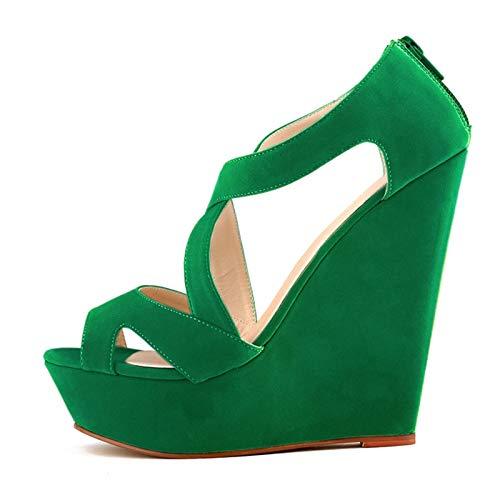 sandales a talons hauts - TOOGOO(R)sandales a talons hauts avec plate-forme courtes decontractees chaussures a talons hauts de mariage chaussures bout ouvert bottines pour femmes dames Vertes 39
