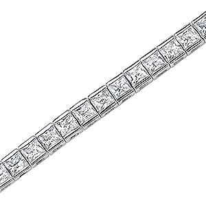 Revoni 1001 Reflets - Bracelet Tennis sertie d'Oxyde de Zirconium blanc - Design Luxueux pour femme - Argent fin 925/1000