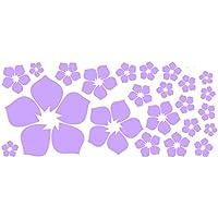 ufengke® 23-Pezzi Piccoli Fiori Adesivi Murali, Camera da Letto Soggiorno Adesivi da Parete Removibili/Stickers Murali/Decorazione Murale, Luce Viola