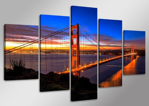 Visario 5512 Ensemble de 5 tableaux San Francisco Golden Gate Bridge 160 cm
