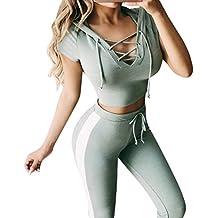 Moda Mujer Señoras Casual Raya Manga Corta Encaje Suéter Deportivos Sudaderas Camisetas Tops Blusas Camisa +