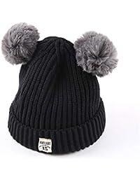 ODJOY-FAN-bambino Doppia palla Hairball Lana Cappello lavorato a maglia  twist caldo-Inverno caldo Cappuccio Sciarpa Caps Fox scialli di… e460042d0c70