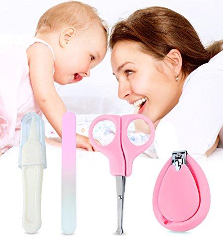 4 Stück Baby Nagelknipser Set | Kompletter Manikür-Knipser Satz für Babys und Kleinkinder | Nagelknipser, Sicherheitsschere, Pinzette & Feile | Gesundes Baby Pflegeset, von Boxiki Kids (Rosa) -