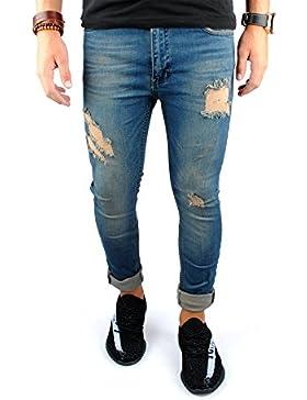 FiveSix Herren Slim-Fit Used-Look Denim Destroyed-Look Zerrissen Löcher Bikerjeans Skinny Jeans Hose mit Stretch