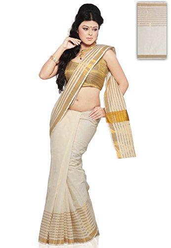 fashionkiosks Women's Cotton Saree With Blouse Piece (Ntutsav_Cream)