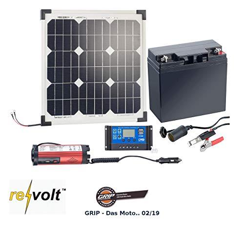 revolt Solaranlagen: Solarpanel (20 W) mit Akku, Laderegler und 230-V-Wandler (Solar Set mit Akku)