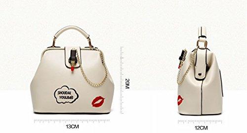 Stickerei Verschluss Doktor Tasche Mode Handtasche Schulter Messenger Bag Schwarz