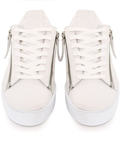 Crime London Femmes formateurs de plate-forme perturbateur zippé Blanc Blanc