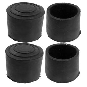 SODIAL(R) 3 cm Innendurchmesser schwarz Gummi runde Tisch Stuhl Fuss Deckelhalter 4 St¨¹ck