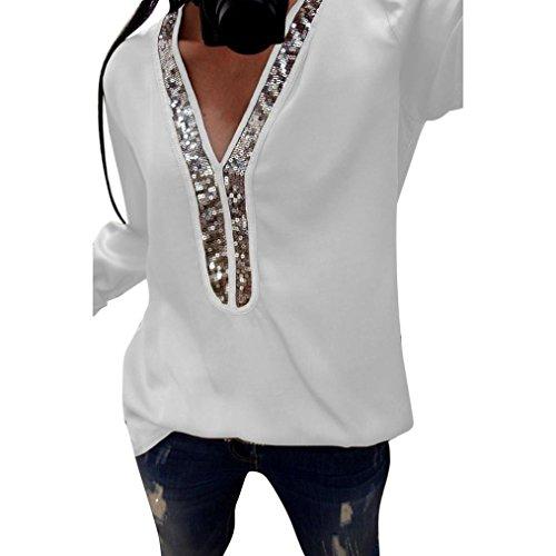 UFACE Damen V-Ausschnitt Langarm-Pailletten-Top Pailletten Langarm-V-Ausschnitt Tops Casual Bluse T-Shirt(Weiß,EU/44CN/M)