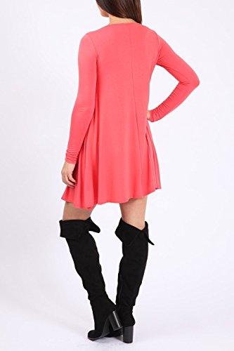 Damen Mädchen Plain Langarm-Swing-Kleid EUR 36-42 Koralle - Coral
