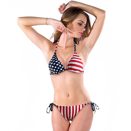 Generisch Europa-amerikanische Flagge sexy Bikini Badeanzug Damen Bademode XL