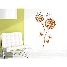 Pegatinas de pared Pegatina Pintura mural sala de estar Diente de león Mariposas (Tamaño=88x50cm//Color=042 Lila)