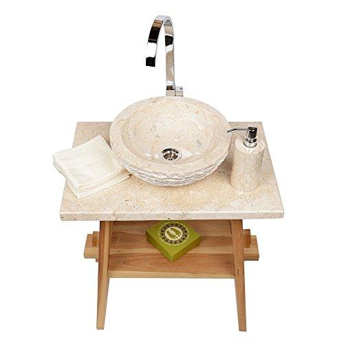 Preisvergleich Produktbild WOHNFREUDEN Marmor Waschbecken 33 cm creme  rund aussen gehämmert  ideal als Steinwaschbecken oder Naturstein Aufsatzwaschbecken für Bad Gäste WC  schnell & versandkostenfrei