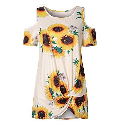 COZOCO 2019 Heißer verkaufender Frauen-Sommer-kalte Schulter-Bindungs-Knoten-Sonnenblume-Druck übersteigt beiläufige Hemd-Bluse -