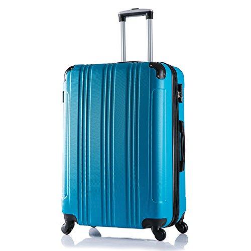 WOLTU RK4207ts Reise Koffer Trolley Hartschale mit erweiterbare Volumen , Reisekoffer Hartschalenkoffer 4 Rollen , M / L / XL / Set , leicht und günstig , Türkis (XL, 76 cm & 110 Liter)