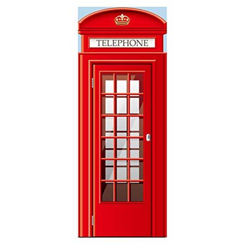 Vosarea 200 x 77 cm set di 2 cabine telefoniche di londra 3d per porta adesivo da parete decorazione creativa da parete